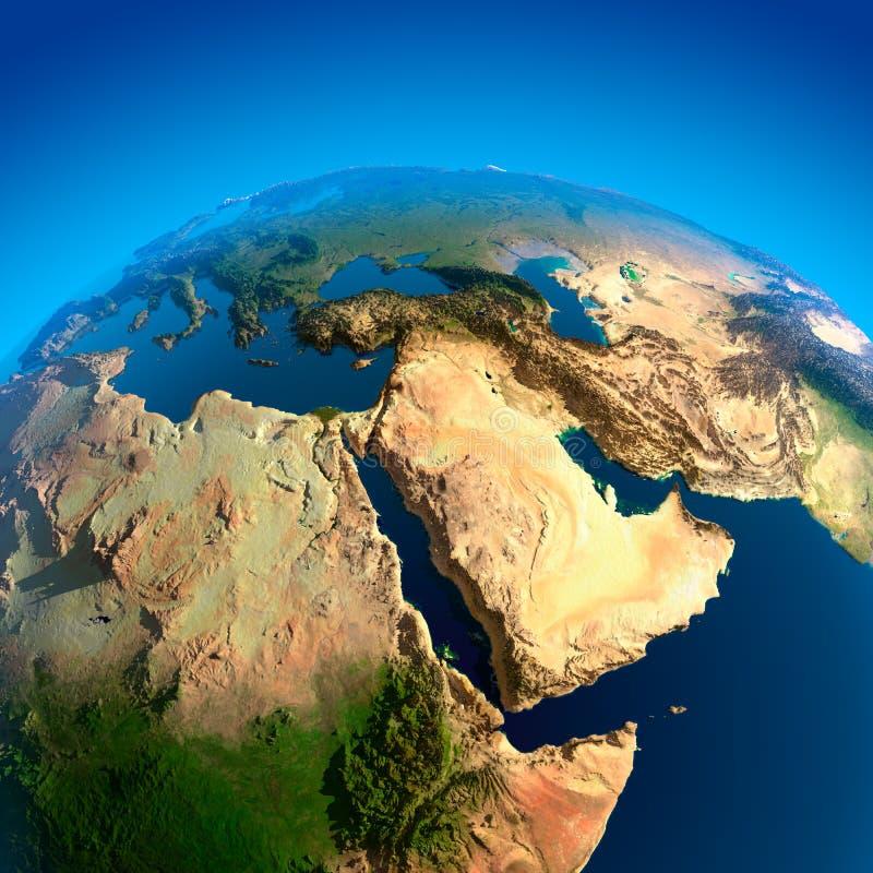 Vista del Medio Oriente da spazio illustrazione di stock