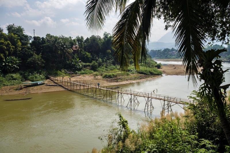 Vista del Mekong in Luang Prabang, Laos fotografie stock libere da diritti