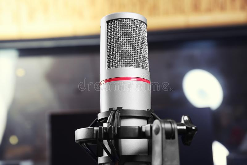 Vista del microfono fotografie stock