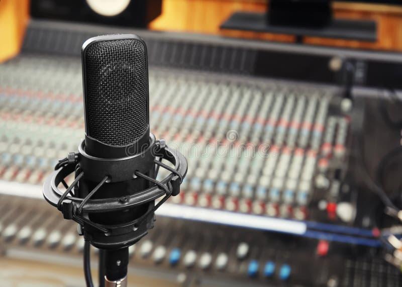 Vista del microfono immagini stock
