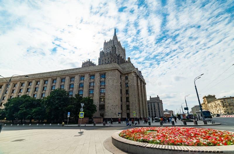 Vista del ministero degli affari esteri, quadrato di Smolenskaya-Sennaya fotografia stock