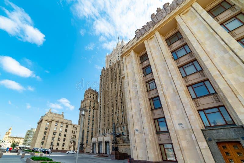 Vista del ministero degli affari esteri, quadrato di Smolenskaya-Sennaya fotografie stock libere da diritti
