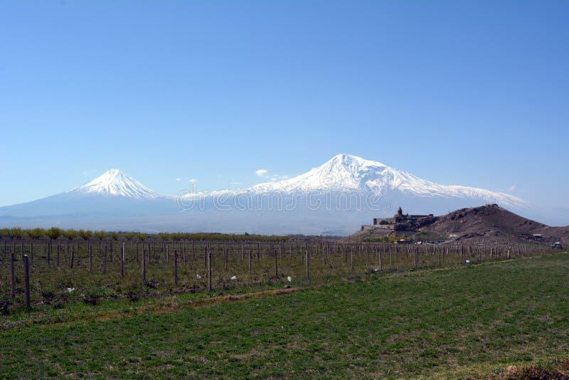 Vista del monasterio de Khor Virap en el fondo del monte Ararat en Armenia foto de archivo libre de regalías