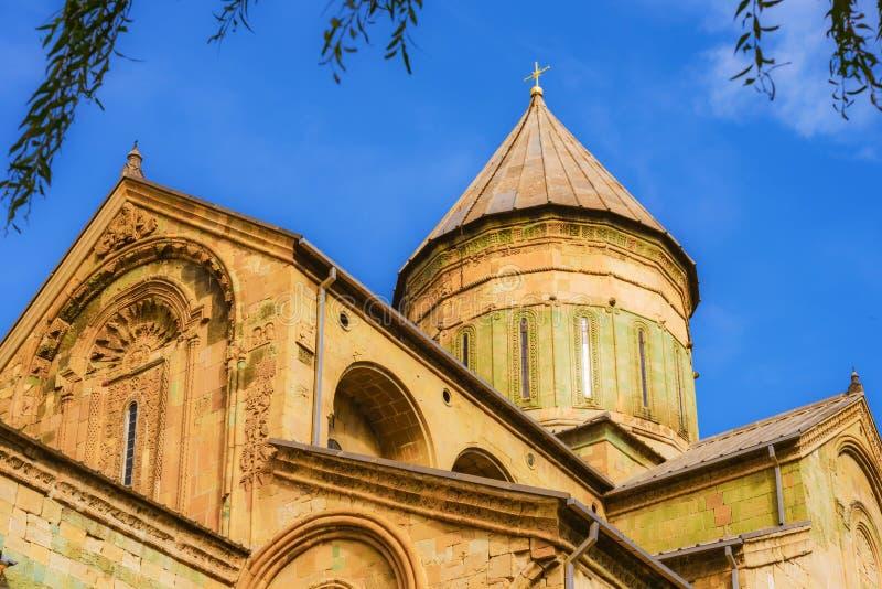 Vista del monastero Svetitskhoveli in Georgia, Mtskheta fotografie stock libere da diritti