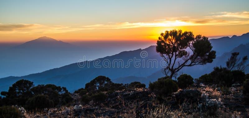 Vista del Monte Meru dall'itinerario di Kilimanjaro Machame fotografia stock libera da diritti