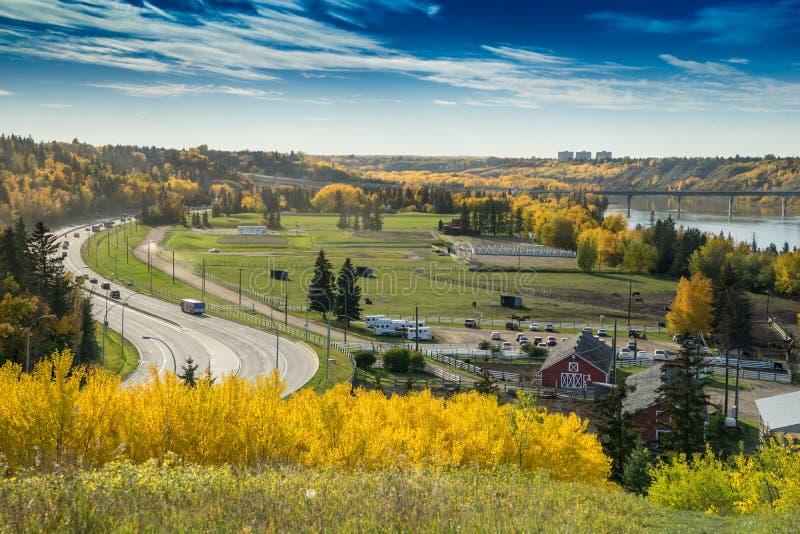 Vista del nord di Saskatchewan River Valley, Edmonton, Alberta fotografia stock libera da diritti