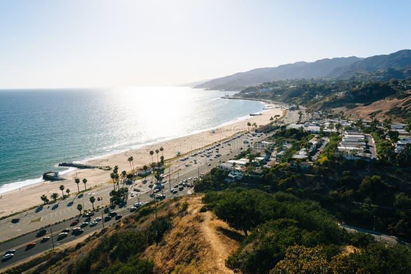 Vista del Océano Pacífico en Pacific Palisades, California imágenes de archivo libres de regalías