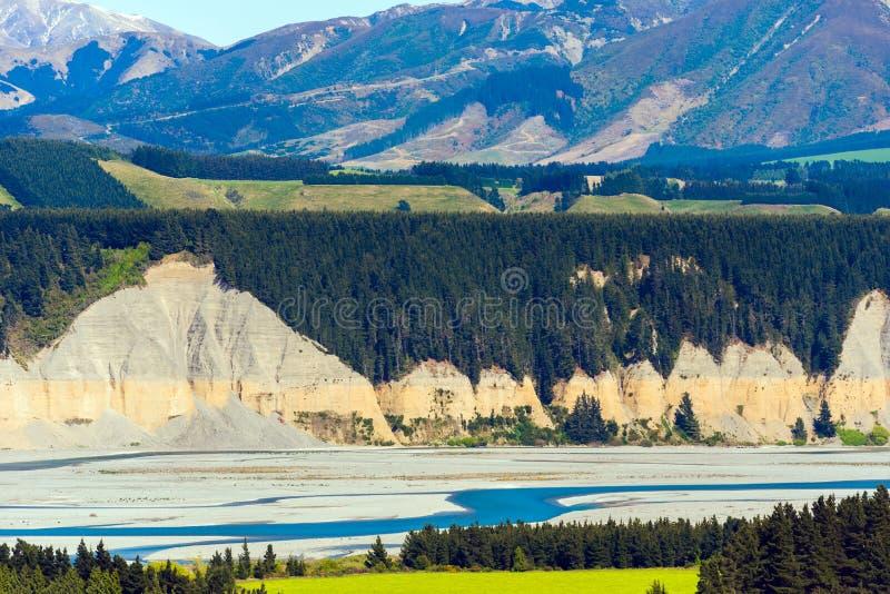 Vista del paesaggio della montagna in alpi del sud, Nuova Zelanda immagine stock libera da diritti