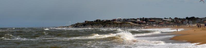 Vista del paesaggio della spiaggia di Pedrera della La in Rocha, Uruguay fotografia stock libera da diritti