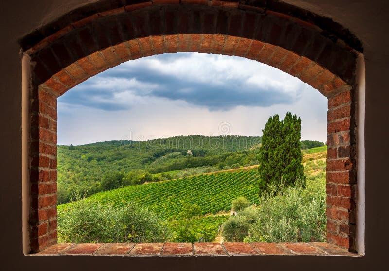 Vista del paesaggio delle vigne dalla finestra del mattone, Toscana, Italia fotografia stock