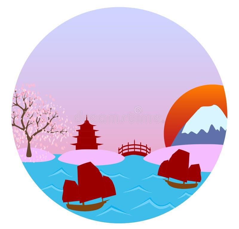 Vista del paesaggio di vettore del Giappone royalty illustrazione gratis