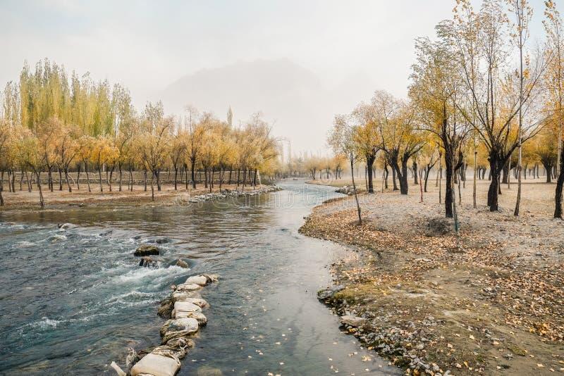 Vista del paesaggio del fogliame di autunno con il fiume scorrente di Hargisa Skardu, Pakistan immagini stock