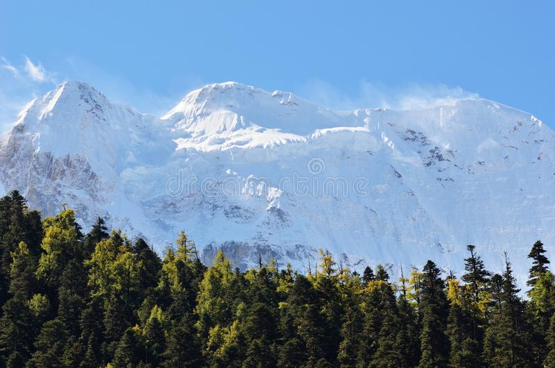 Vista del paesaggio del picco di montagna nevoso con il fondo del cielo blu e della nuvola alla riserva nazionale di Yading, Sich fotografia stock