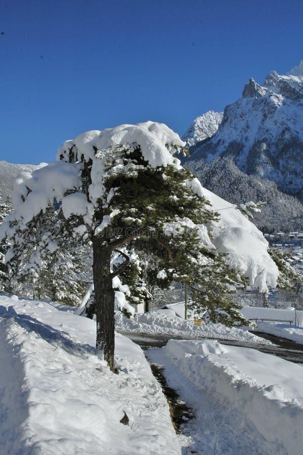 Vista del paisaje escénico del invierno en las montañas bávaras foto de archivo