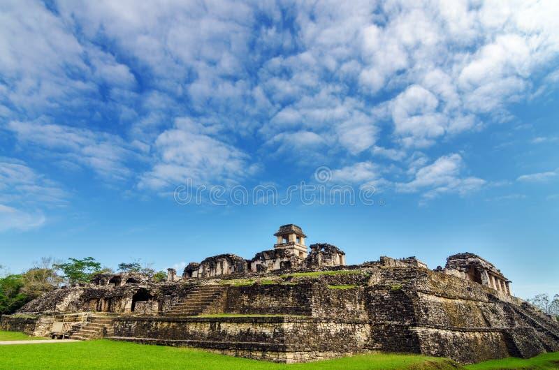 Vista del palazzo di Palenque fotografia stock libera da diritti