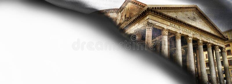 Vista del panteon sulla bandiera d'angolo del tessuto roma L'Italia illustrazione di stock