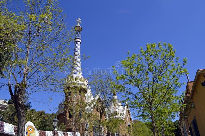 Vista del parco Guell, Barcellona, Spagna di Antoni Gaudi s fotografia stock libera da diritti