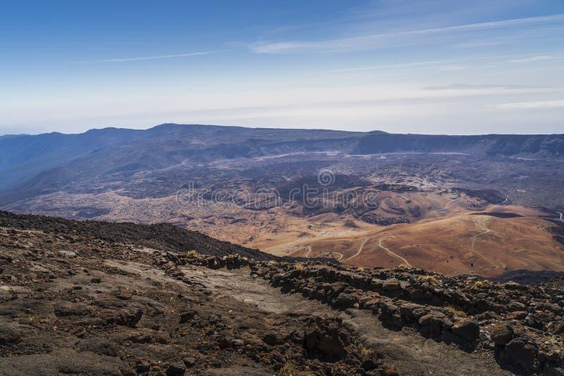 Vista del parco nazionale del vulcano di EL Teide in Tenerife immagini stock libere da diritti
