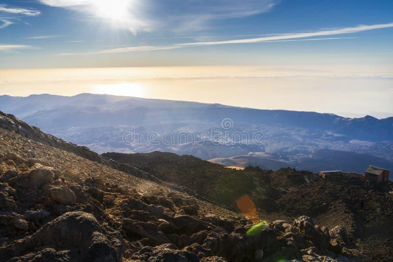 Vista del parque nacional del volcán del EL Teide en Tenerife imagen de archivo libre de regalías