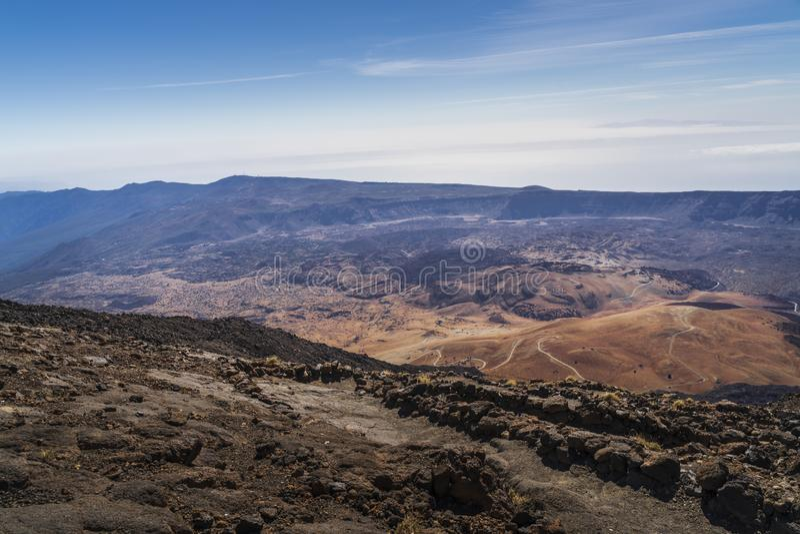 Vista del parque nacional del volcán del EL Teide en Tenerife imágenes de archivo libres de regalías