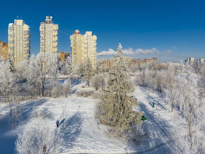 Vista del parque nevado de la ciudad el día soleado Moscú, Rusia imágenes de archivo libres de regalías