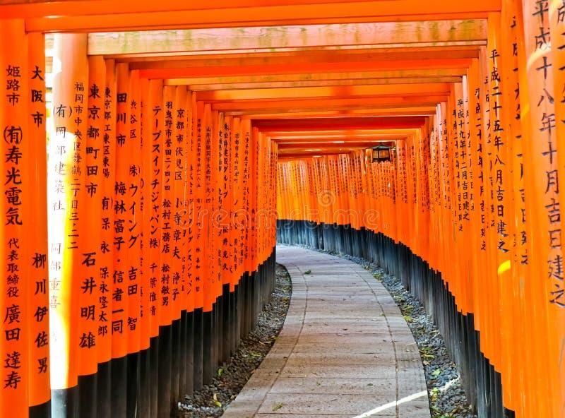Vista del percorso giapponese di torii a Kyoto, Giappone fotografia stock libera da diritti