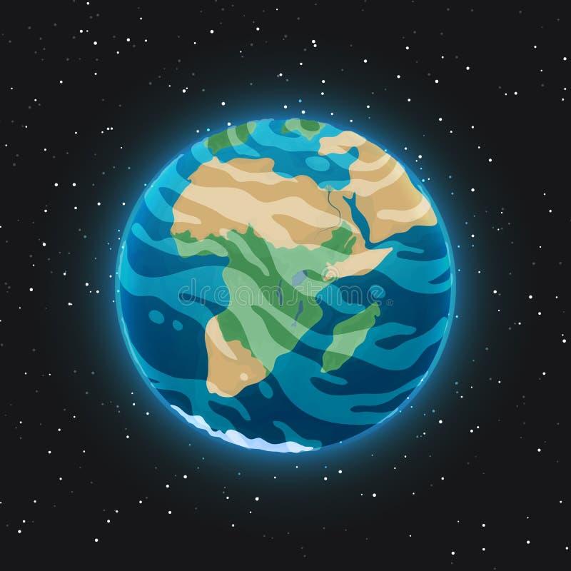 Vista del pianeta Terra da spazio Sfera blu d'ardore con gli oceani, i continenti e le nuvole nell'atmosfera con universo scuro e royalty illustrazione gratis