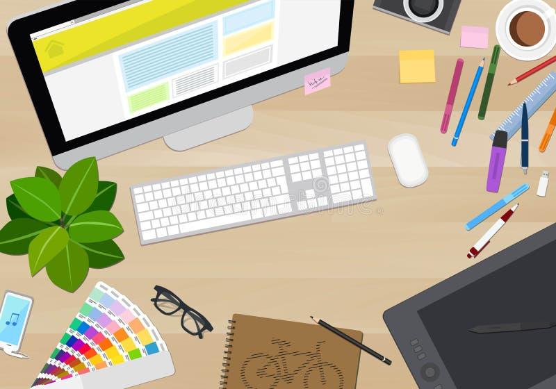 Vista del piano d'appoggio del progettista, disordine creativo, illustrazione di vettore royalty illustrazione gratis