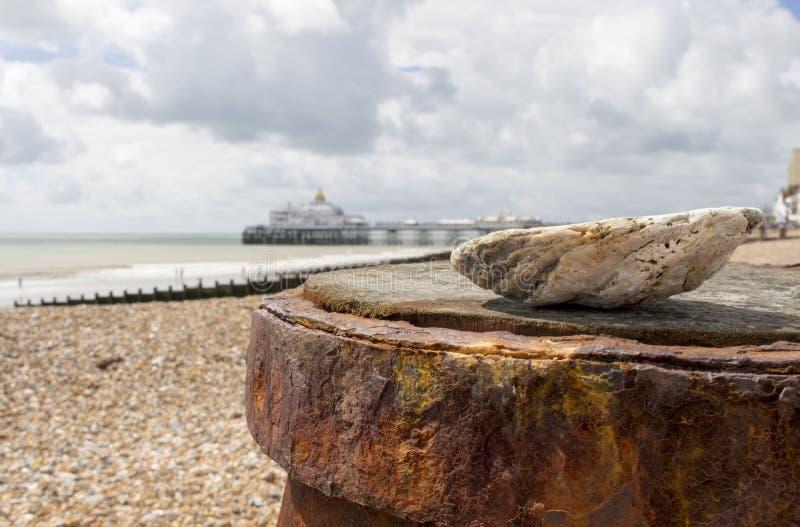 Vista del pilastro della spiaggia di Eastbourne nei precedenti di una conchiglia sulla spiaggia nel sole di estate fotografia stock libera da diritti