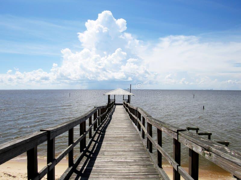 Vista del pilastro lungo che conduce al molo un giorno soleggiato fotografie stock