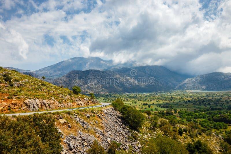Vista del plateau di Lasithi su Creta fotografia stock
