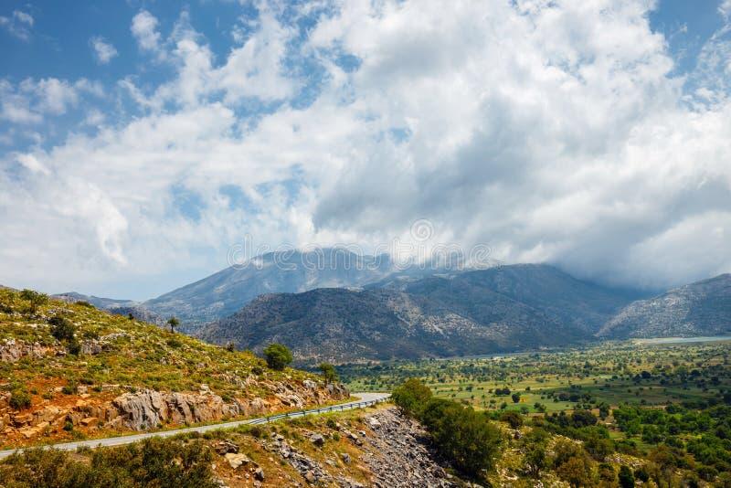 Vista del plateau di Lasithi sull'isola di Creta immagini stock