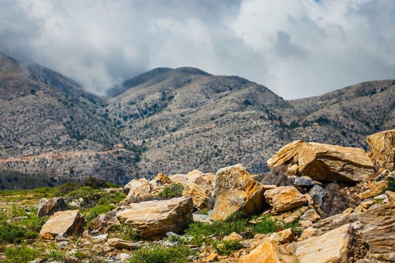 Vista del plateau di Lasithi sull'isola di Creta fotografia stock