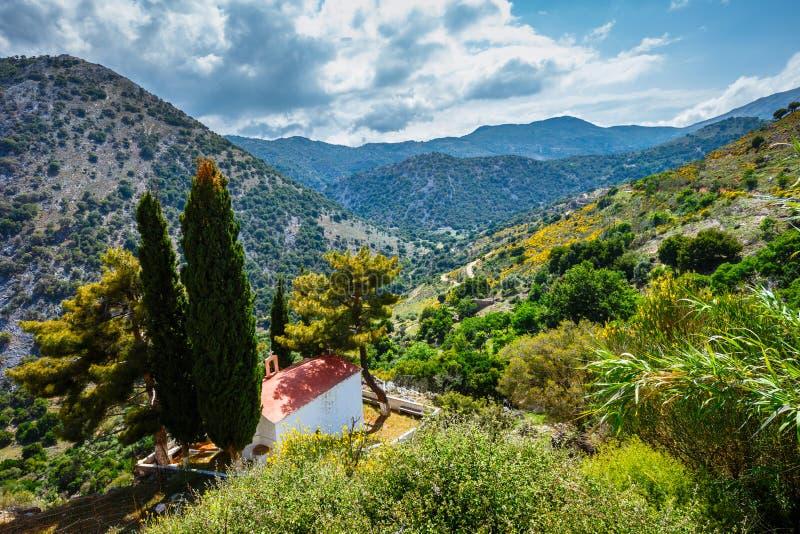 Vista del plateau di Lasithi sull'isola di Creta immagini stock libere da diritti