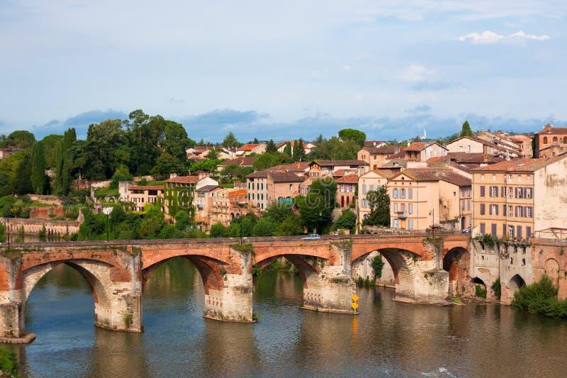 Vista del ponte augusto a Albi, Francia fotografia stock