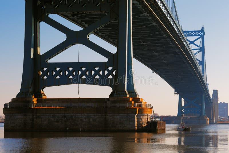 Vista del ponte di Ben Franklin di Filadelfia immagine stock libera da diritti