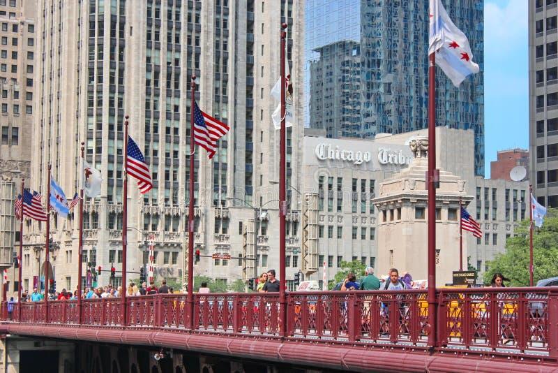 Vista del ponte di Chicago dentro in città immagini stock libere da diritti