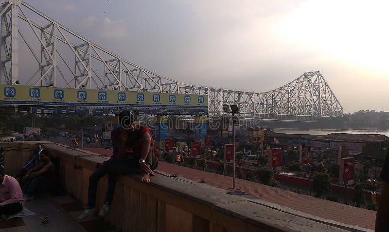 Vista del ponte Howrah, Kolkata, India fotografia stock libera da diritti