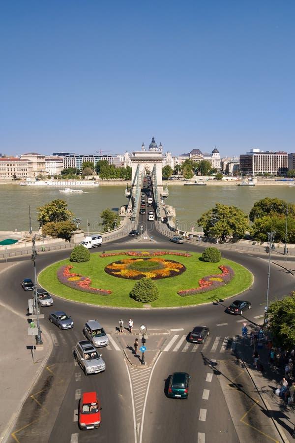 Vista del ponticello chain a Budapest fotografia stock libera da diritti