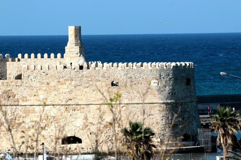 Vista del porto dal vecchio Koule forte veneziano, Creta, Grecia di Candia fotografia stock
