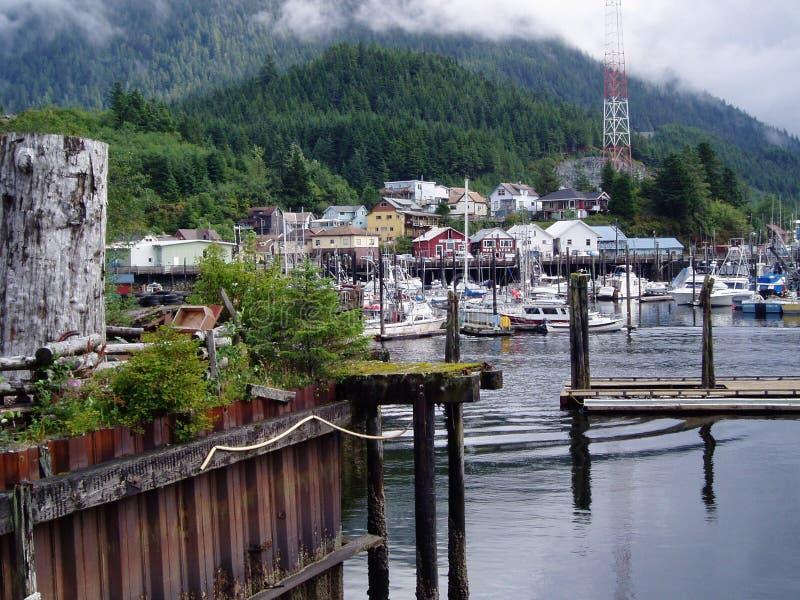 Vista del porto di Ketchkan Alaska fotografia stock libera da diritti