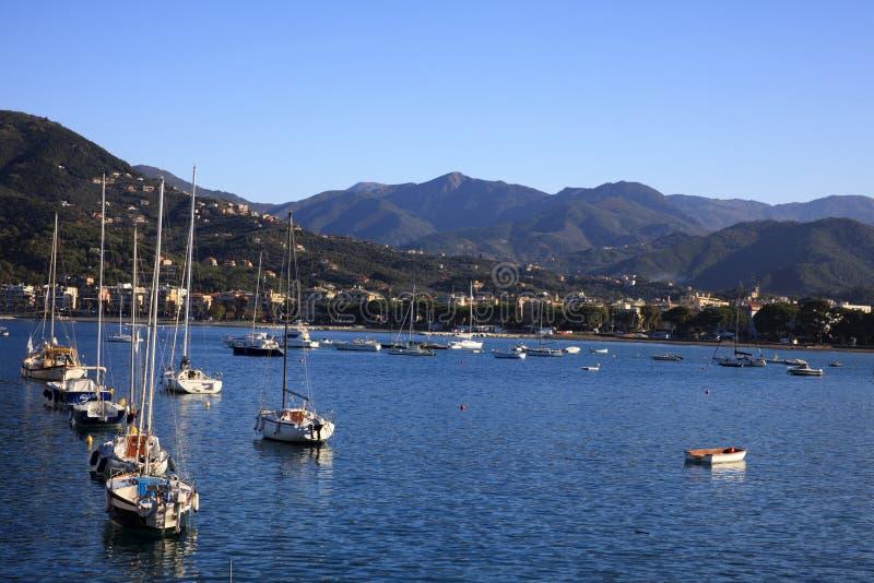 Vista del porto di Sestri Levante, Genova, Liguria, Italia fotografia stock