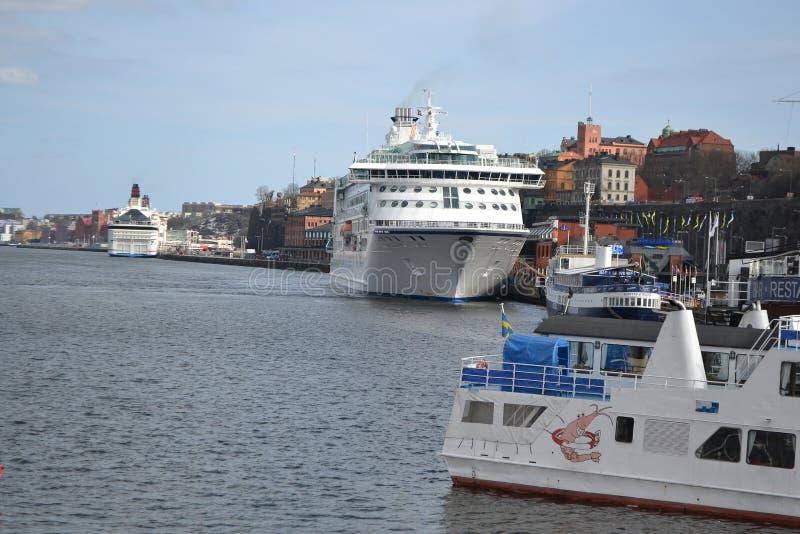 Vista del porto a Stoccolma immagine stock