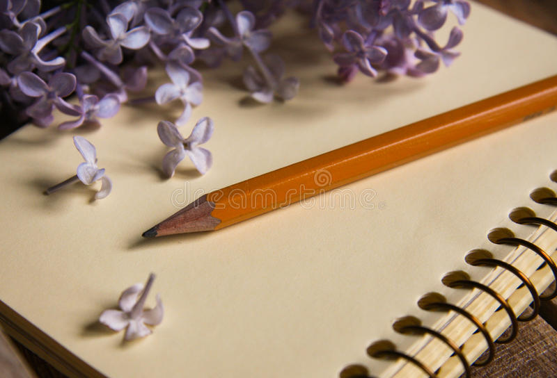 Vista del primo piano del lillà, della matita e del blocco note fotografia stock libera da diritti