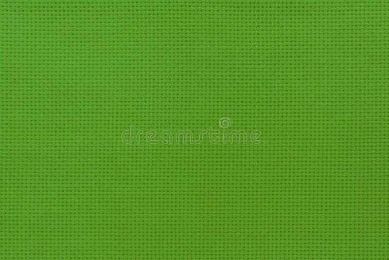 Vista del primo piano del panno naturale di colore verde Struttura di Aida per immagine stock libera da diritti
