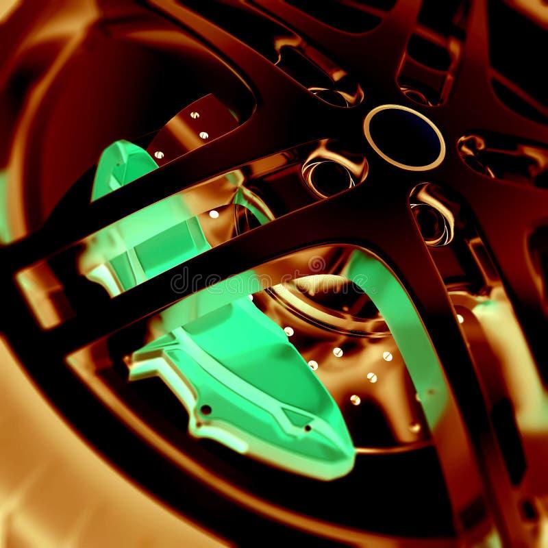 Vista del primo piano della ruota di automobile con gli effetti negativi della foto e del fuoco illustrazione 3D illustrazione vettoriale