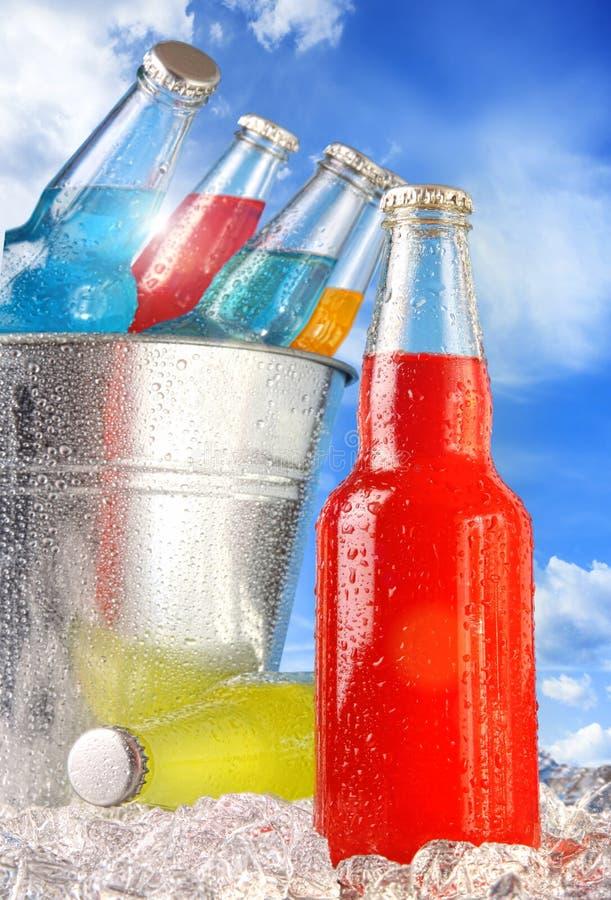 Vista del primo piano delle bottiglie con ghiaccio immagine stock
