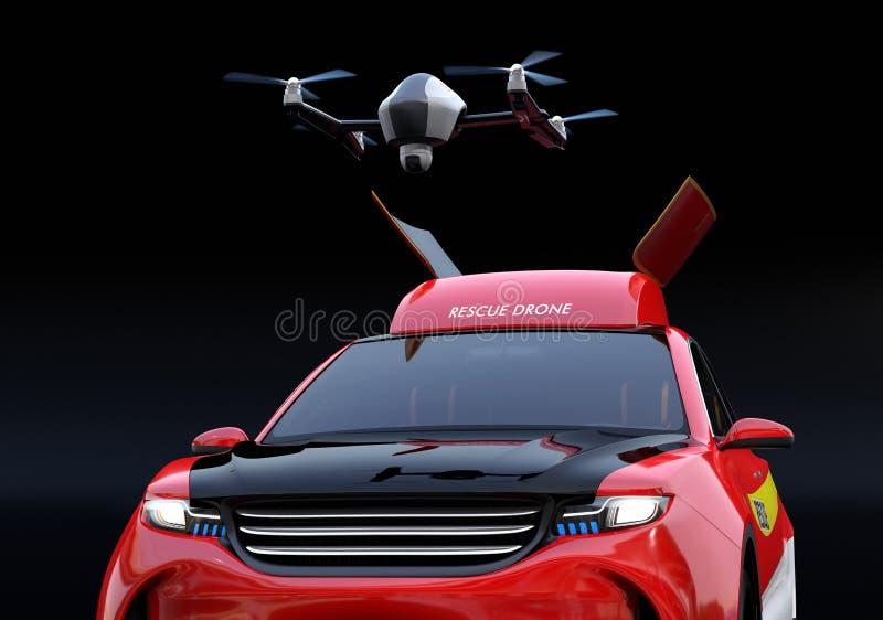 Vista del primo piano del fuco del quadcopter decollare dal salvataggio elettrico SUV royalty illustrazione gratis