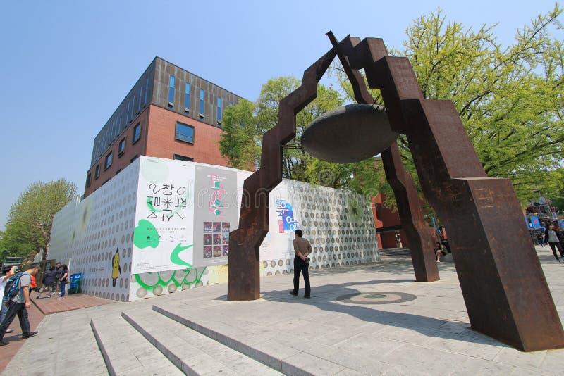 Vista del pueblo del mural de Seul Ihwa imágenes de archivo libres de regalías