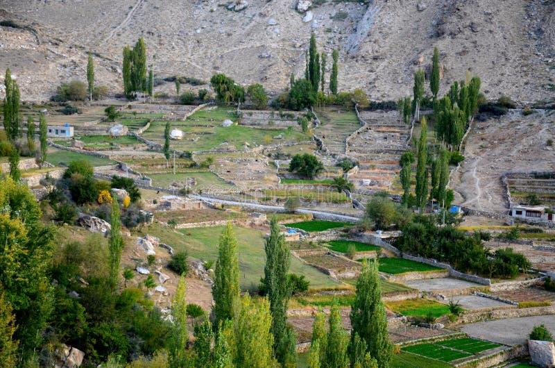 Vista del pueblo y de campos en el valle Paquistán septentrional de Hunza fotos de archivo